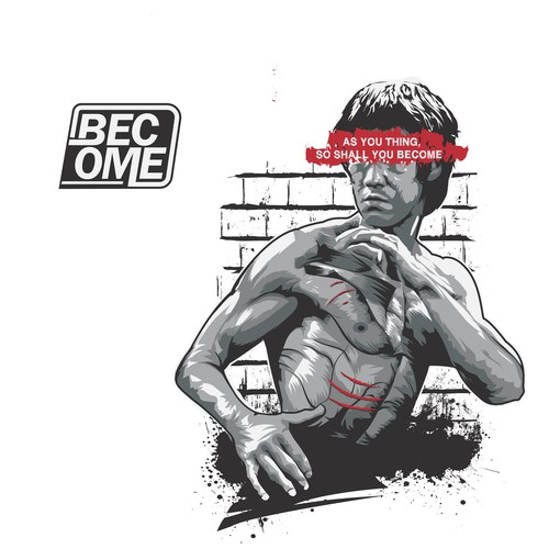 Motivational Bruce lee style tee shirt