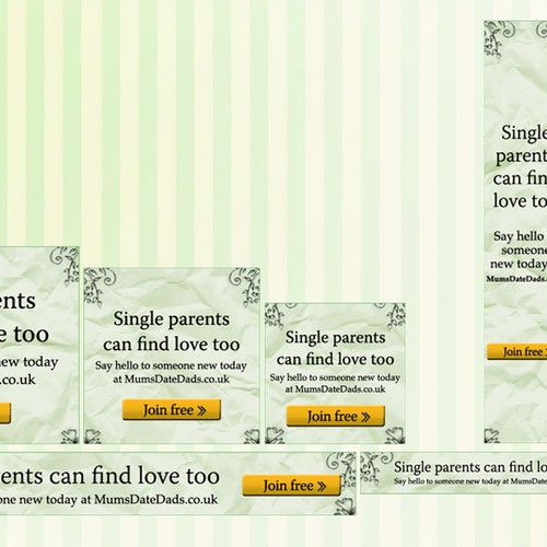 Banner ad design in different sizes for dating site