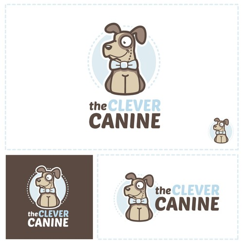Cartoon style dog-training logo