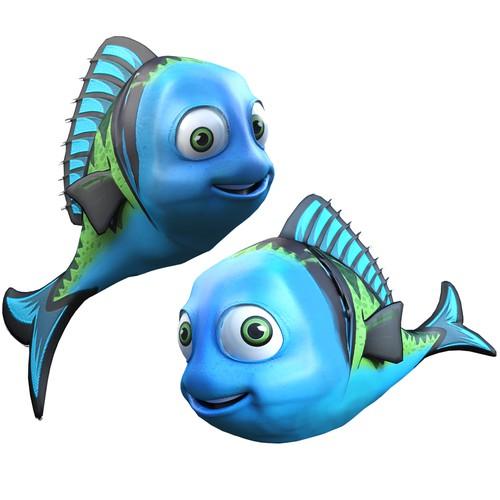 3d designed stylish cartoon fishes