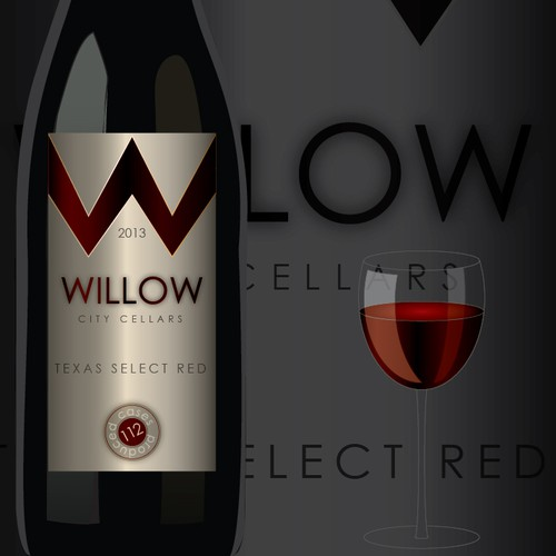 Willow red wine label .