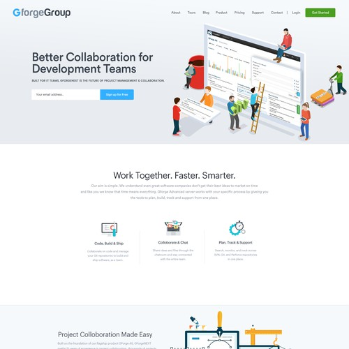 Website Concept for Team Collaboration Software