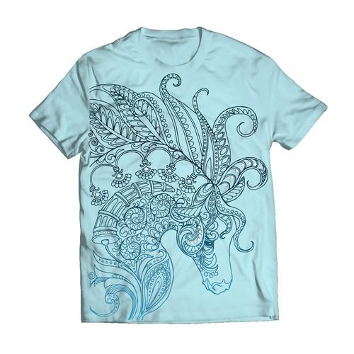 Zentangle horse design for T-shirt