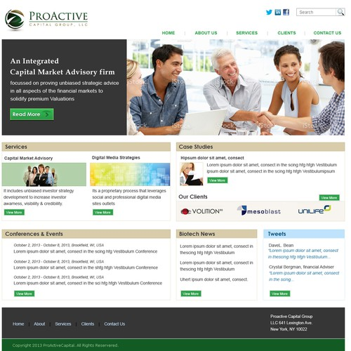 Create a simple, modern site for an investor relations firm