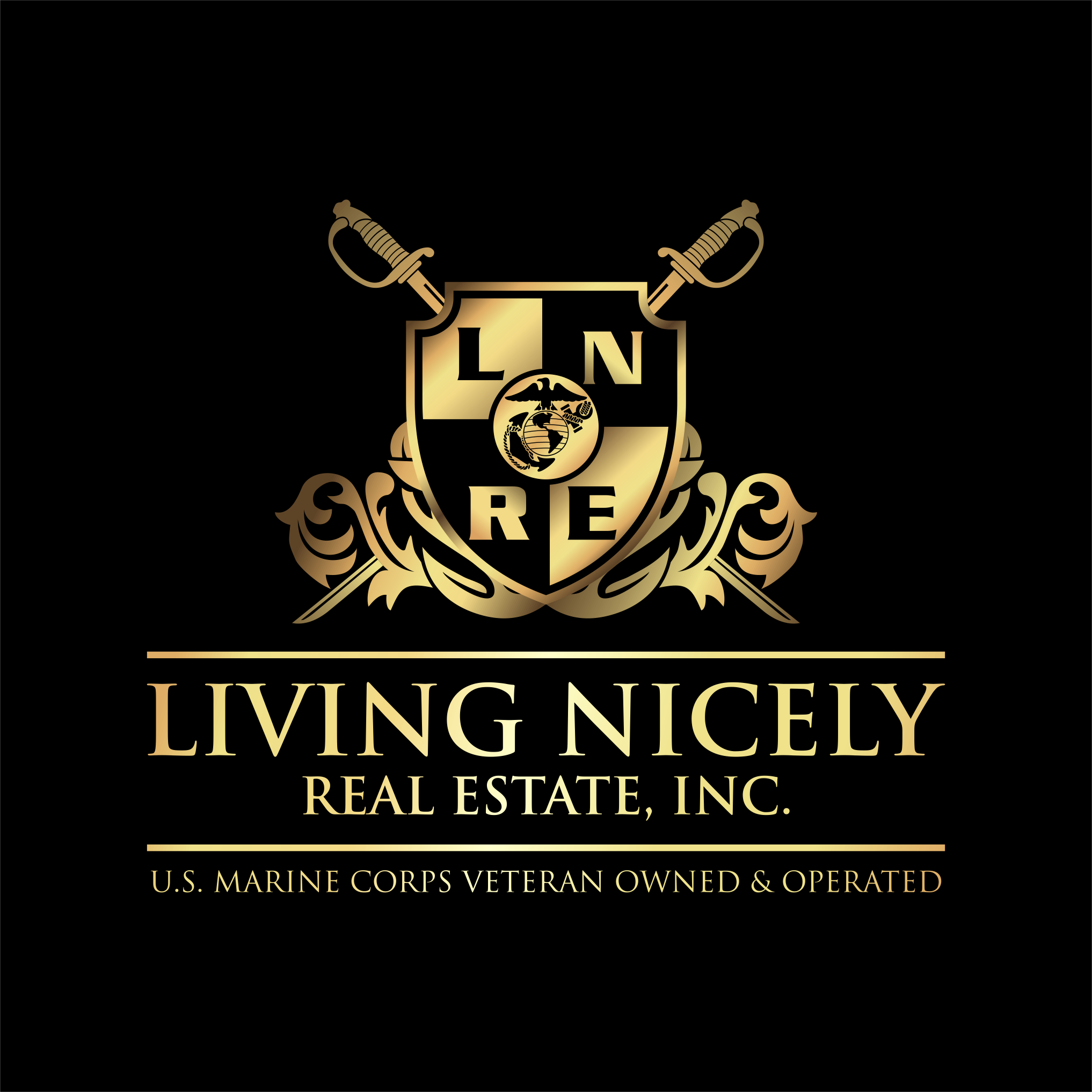 Gold Crest & Cross Swords with EGA for Living Nicely Real Estate, Inc.