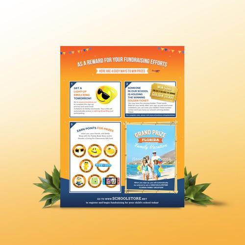 Fun fundraising flyer design for SchoolStore