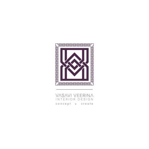 Create the next logo for Vasavi Veerina Interior Design
