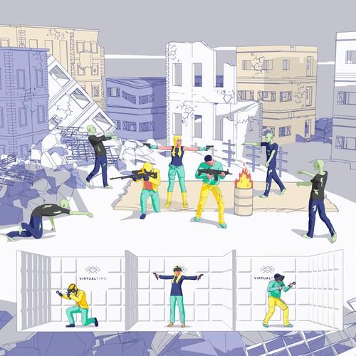 Zombie Survival Illustration for VR Promo Website