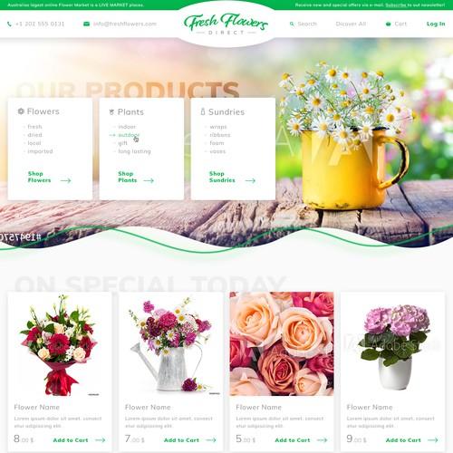 Web design for an online flower shop