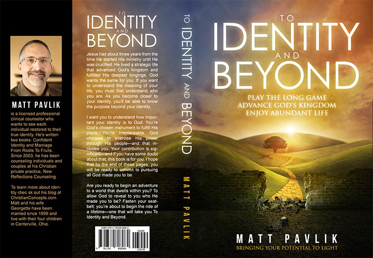 Create a thought-provoking Christian book cover for To Identity and Beyond