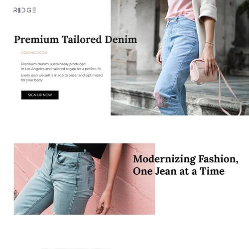 Landing Page Design for Jeans Startup