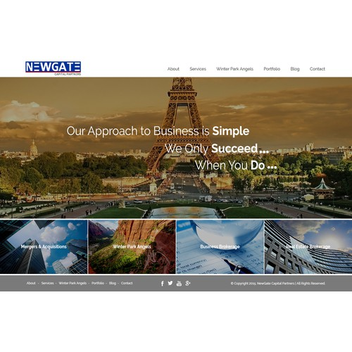 Design a clean and welcoming homepage for a multifaceted investment firm