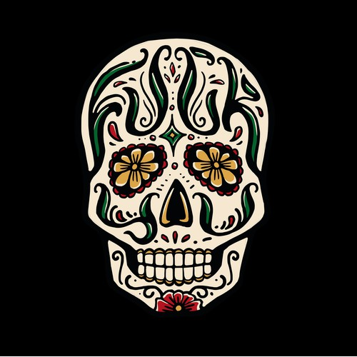 Sugar Skull Design with Hidden Text