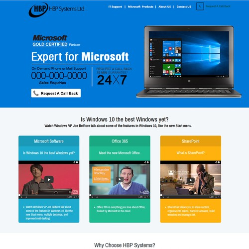 landing page for IT support