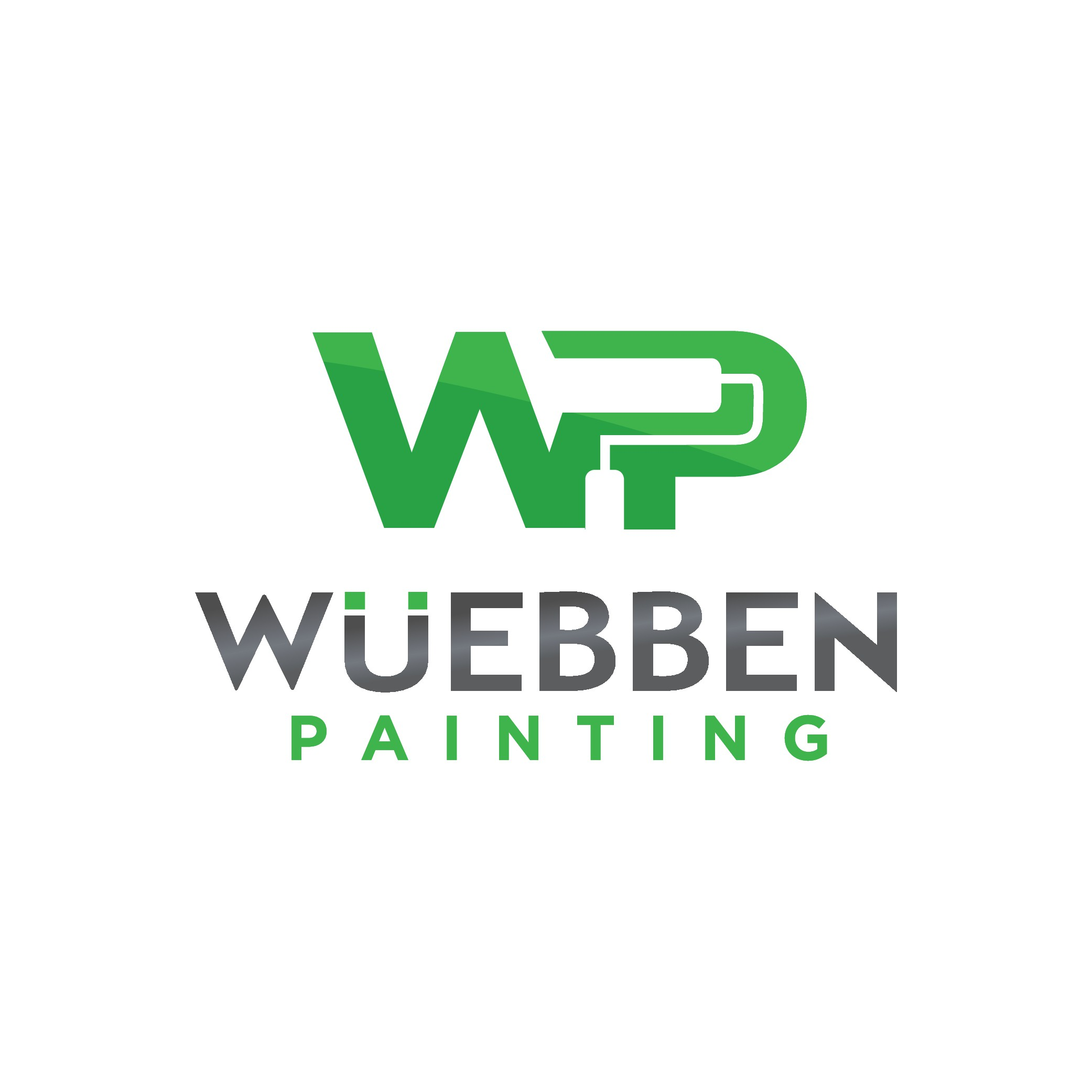 Design a sleek, modern logo for new painting contractor, maybe incorporate a spray gun or tape being pulled to reveal lo