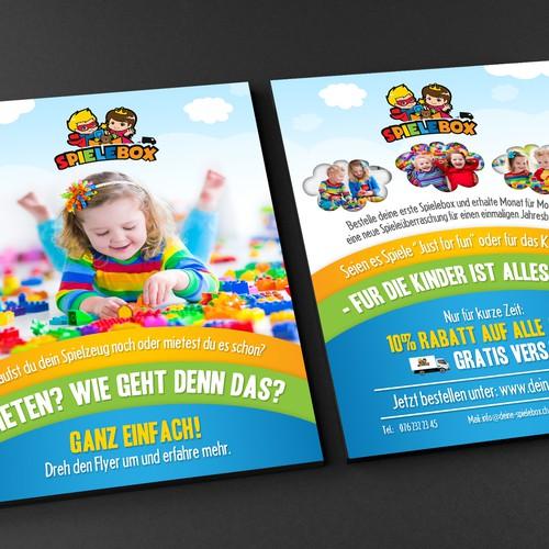 Kreativer Flyer für Kinder und Eltern -> Spieleabo