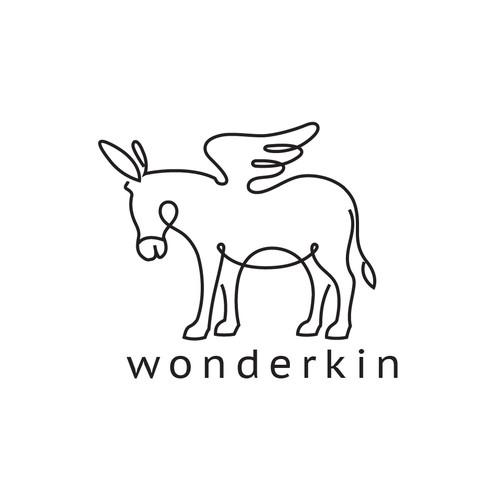 A simple minimalistic donkey line-art logo