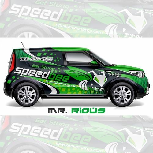 Eye catching vehicle wrap for Speedbee Energy Drink