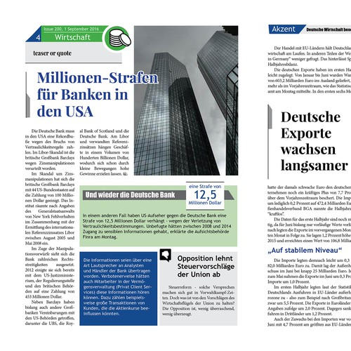 Monthly newspaper concept