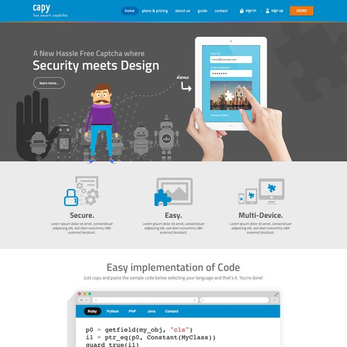 Creative website design for a online security