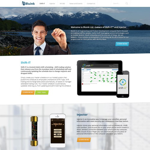 Design eye-catching and modern webpages for technology company Bluink.