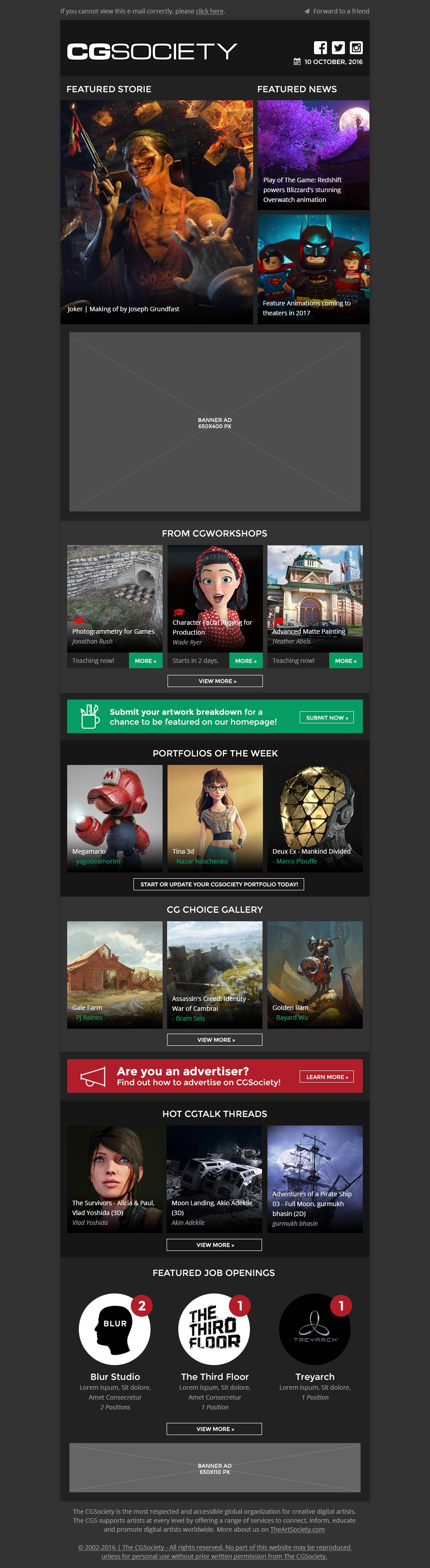 Design Creative and Dynamic Newsletter for prominent Digital Art Website, CGSociety!