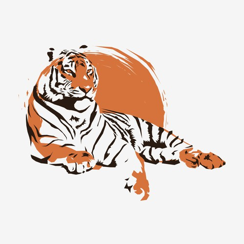 Lying Tiger T-shirt Design