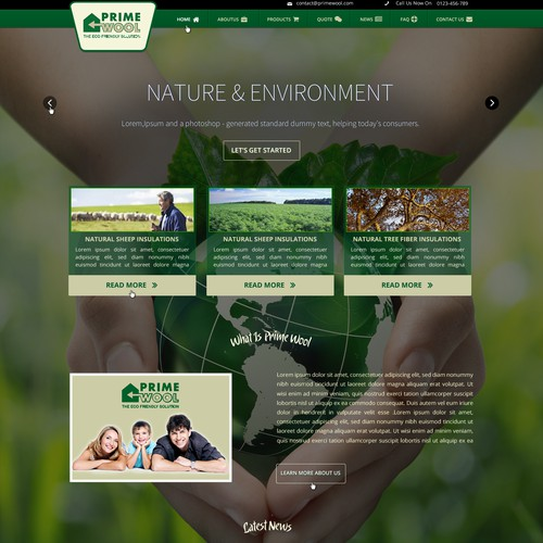 Create a website design for a new clean-tech company