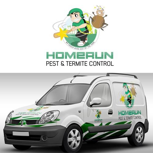 Logo concept for Homerun Pest & Termite Control