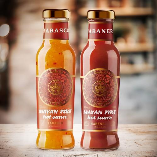 Label Mayan Fire Hot Sauce by Melinda's Original Habanero Pepper Sauce