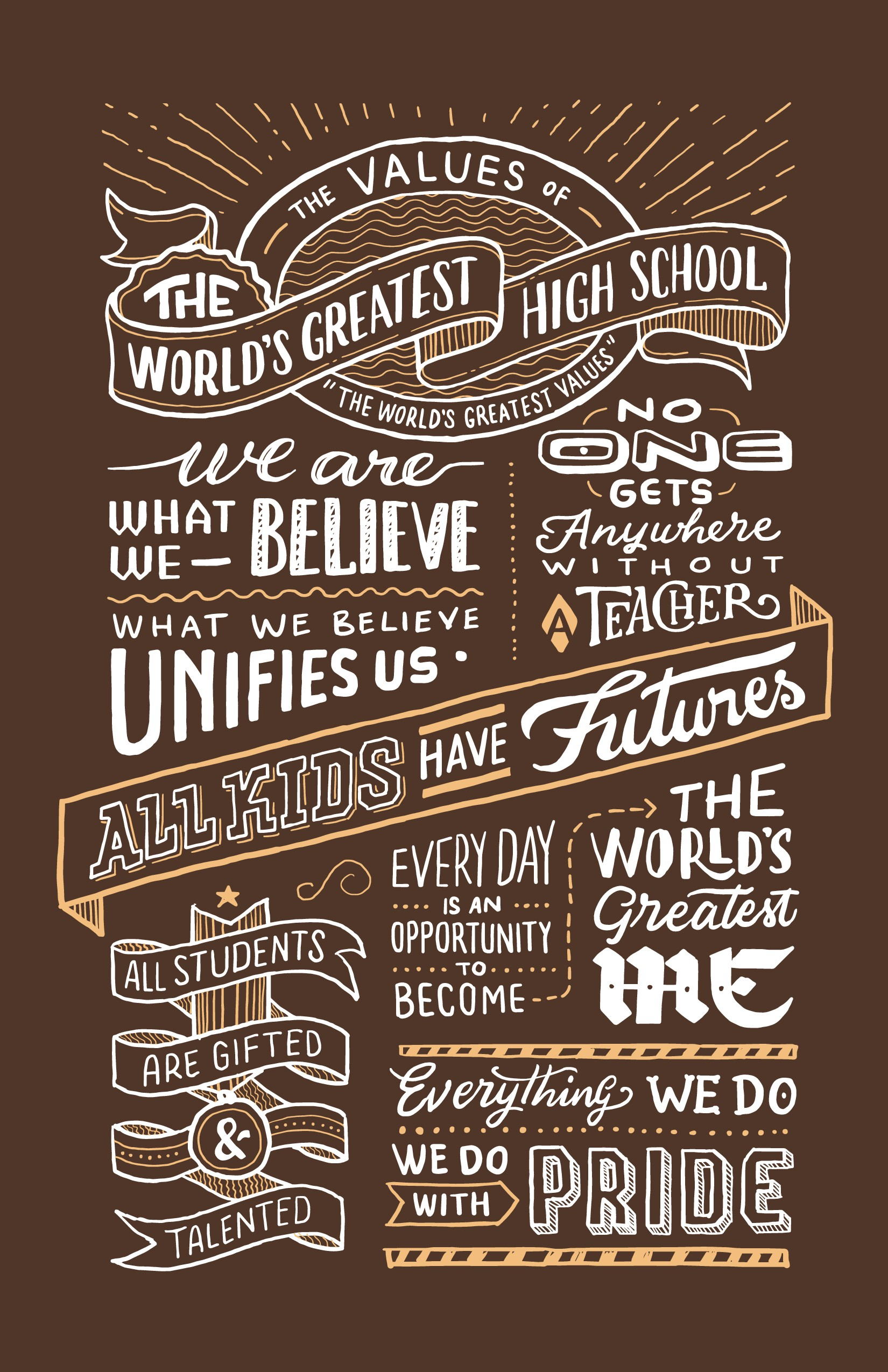 Handcrafted Typography Word Art for Poster and Book Page. Help high school students!
