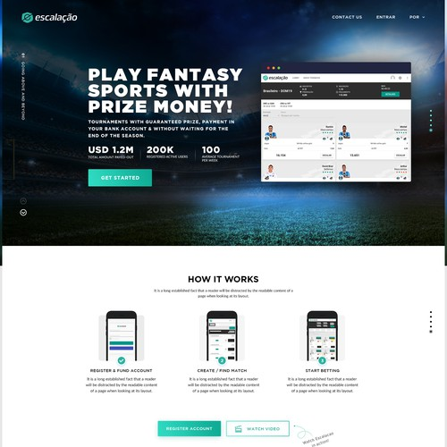 New Landing Page for Daily Sport Fantasy