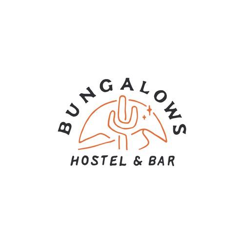 Vintage badge design for BUNGALOW HOSTEL & BAR