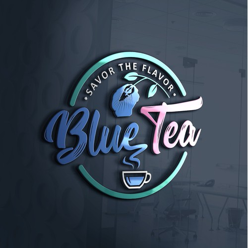 Typography logo for Blue tea manufacturer.