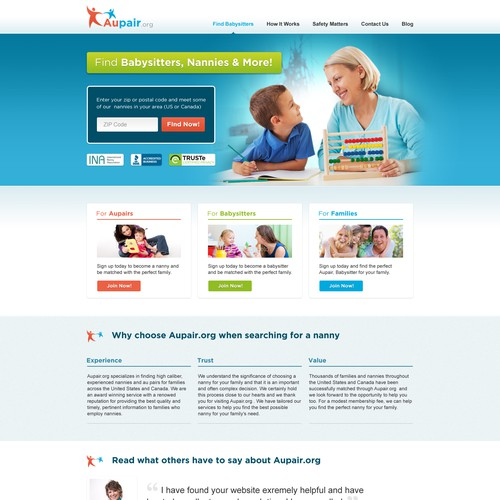 Clean and Fresh website for Nanny Listing
