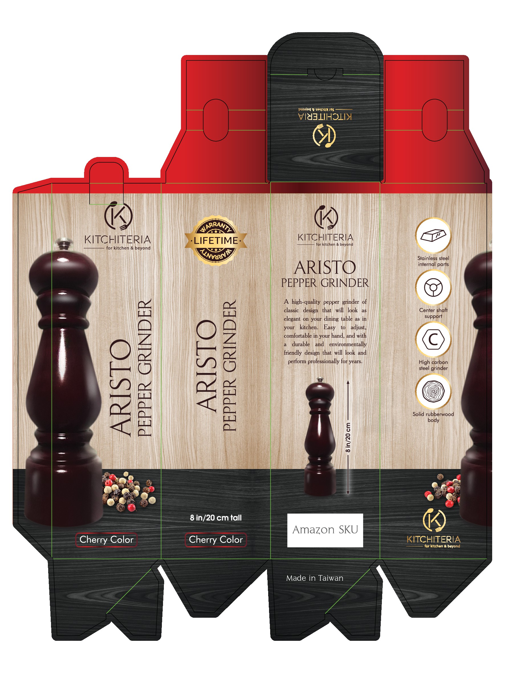 Design a sophisticated, but unexpected, package for a high-end pepper mill.