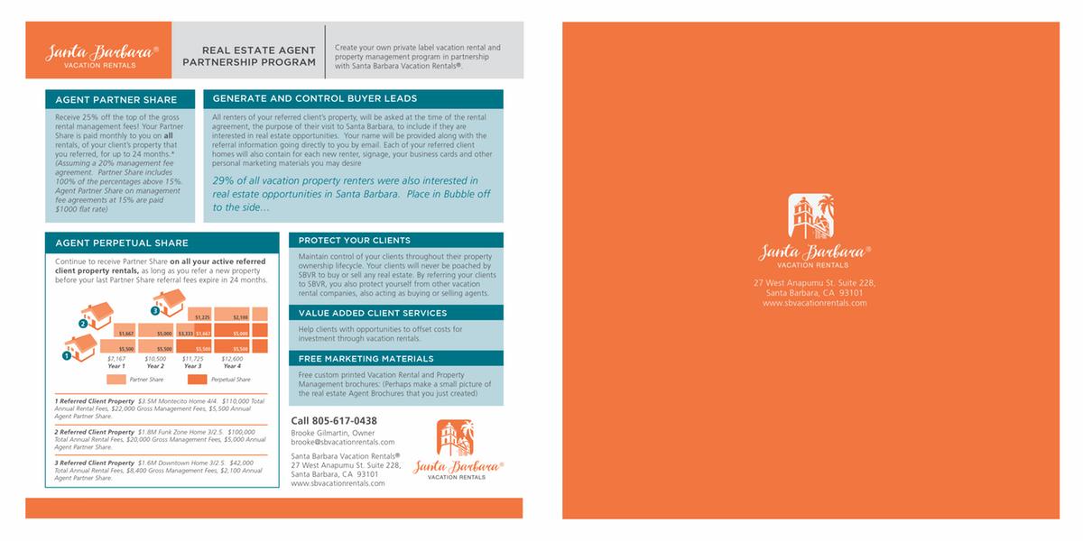 Santa Barbara Vacation Rentals - Brochures and Marketing Sheet