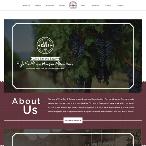 Home Page Design for Bar Cava