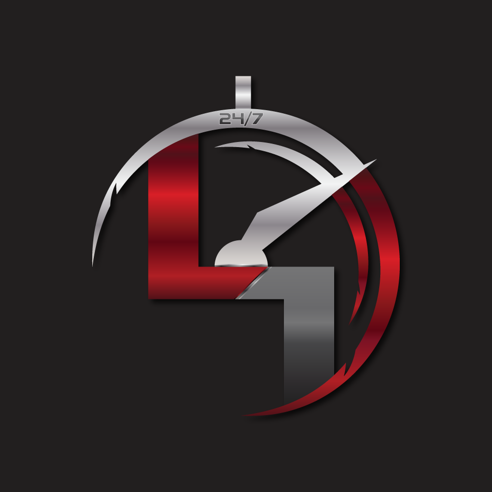 """CREATE A SIMPLIFIED LOGO FOR A PENDANT AND ICON USING """"LIV1NCE 24/7""""  TIME DIAL AND NAME"""