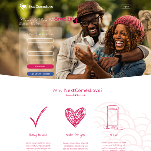 NextComesLove Landing page