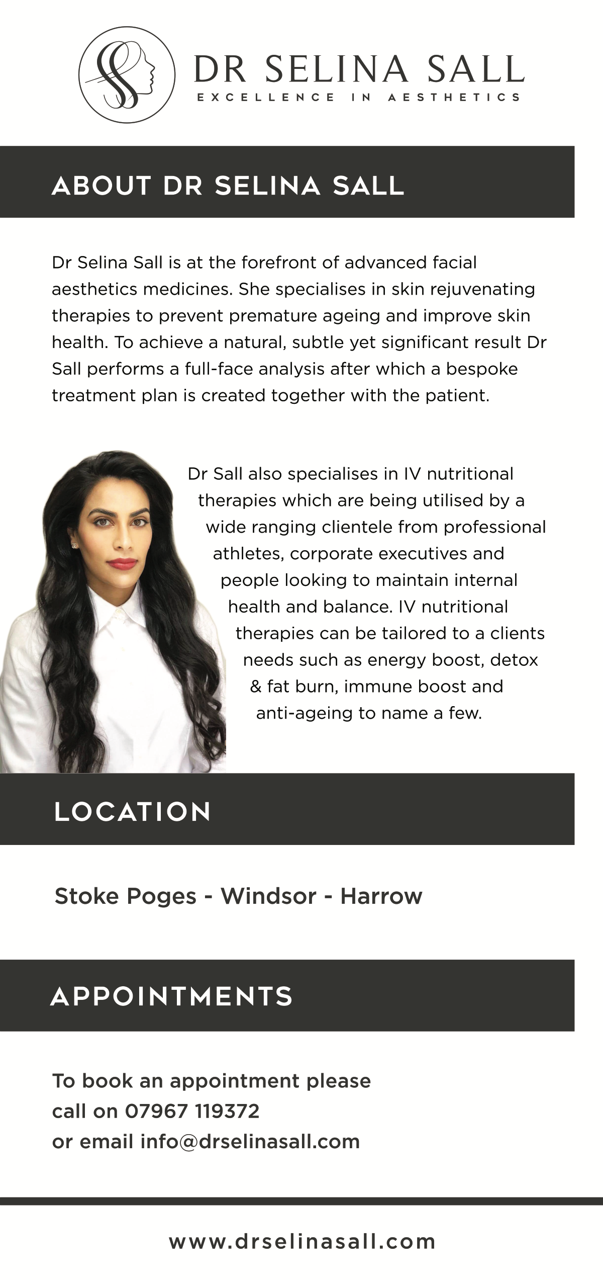 A flyer for facial aesthetics company to be used to advertise via mail