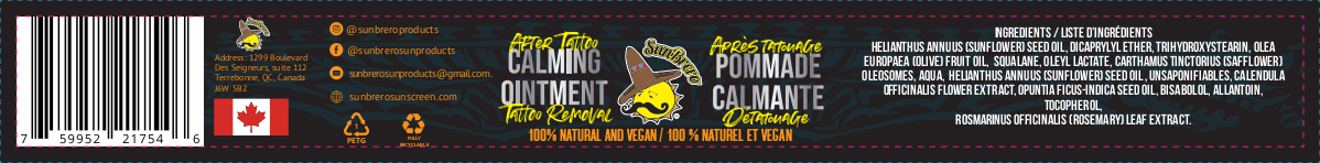 Label for after tattoo ointment