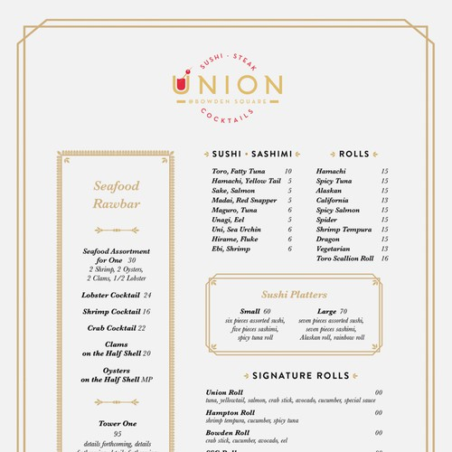High End Hamptons Restaurant Menu Design