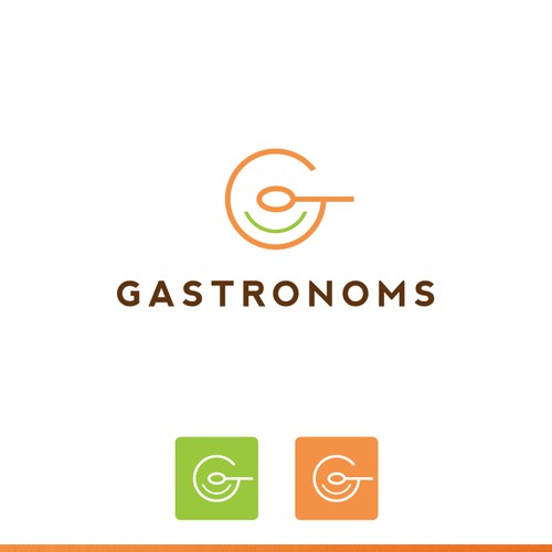 A crisp, fresh, gourmet food themed logo for Gastronoms