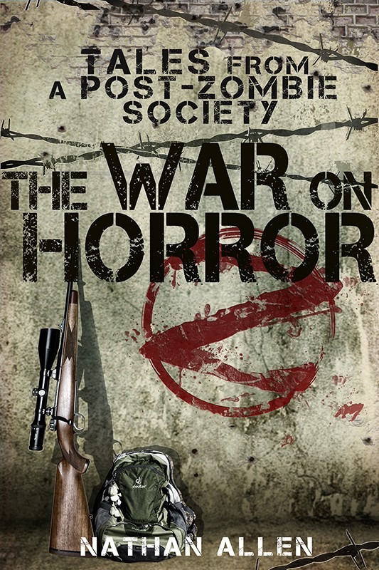 Design an urban street art/stenciling-themed e-book cover for a humorous zombie novel