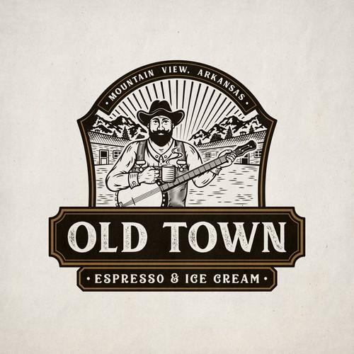 Old Town emblem logo design for espresso and ice cream shop