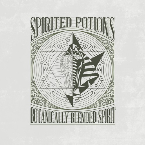 logo and label for spirited potions