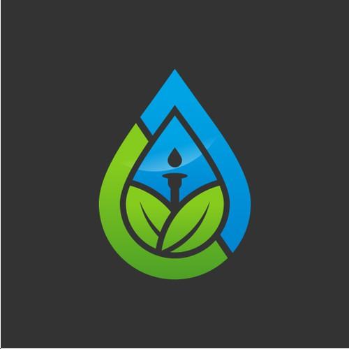 Letter CJ with leaf and irrigation logo design concept