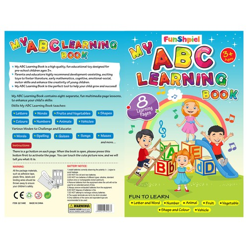 design cover for preschool learning book that teaches music, words, and abc! a book that sings
