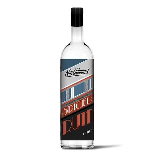 Art Deco rum label design